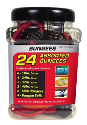 Hunting Secure gear, equipment and more with an assorted 24-piece bungee jar. Five bungee sizes are great for the home, office, workshop, hunting and recreation.Includes: 18 Quantity 6 24 Quantity 4 23 Quantity 2 40 Quantity 2 Minis Quantity 6 Bungee Balls Quantity 4 - $5.88