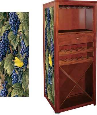 Hunting This beautiful pine cabinet displays your best wines and stemware, while concealing up to six long guns in a locked cabinet behind its facade. Decorated with a stunning giclee canvas print from a famed wildlife artist choose a masterpiece by Terry Redlin or Rosemary Millet. The prints are protected by a triple-layer, UV-resistant finish for vibrant colors, deep contrast and long-lasting fade resistance. Key-locked gun storage compartment for safety. Two wine racks and four large bottle chambers hold up to two cases of wine. Convenient drawer for bottler openers, stoppers and other accessories. Rolling casters for easy mobility. Some assembly required. Imported.Dimensions: 57H x 24W x 24D.Weight: 65 lbs.Available: October Mist (Millette), Vineyard Goldfinches (Millet), Man and Dog (Redlin), Crossing the Ridge (Millet), Snowy Ridge (Millet), Daybreak Whitetails (Redlin). Type: Gun Cabinets. Style October Mist. - $499.99