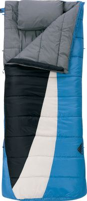 Camp and Hike This Kelty Eclipse +15 Rectangle Sleeping Bag features CloudLoft Insulation matched with two-layer, offset quilt construction minimizes cold spots, while delivering optimal warmth. Draft tube along anti-snag zipper keeps cold air out. An ergonomic footbox offers extra space for a comfortable nights sleep. Sleeping-pad security loops attach bags to pads. Two-way locking blanket zipper for attaching two bags. Integrated, tuck-away pillow pocket. Zippered chest pocket. Includes stuff sack. Tear-resistant, 50-denier polyester ripstop shell with a soft, polyester-cotton lining. Imported. - $69.88