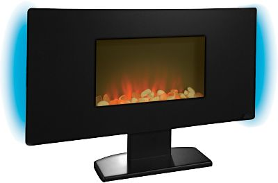 This remote-controlled 1,350-watt flat-panel fireplace heats up to 400 square feet, but the true appeal is the stylish statement it will make in any living space. The black glass finish adds an artistic touch to the room. The adjustable contemporary flame effect and backlighting have the personality of a wood-burning fireplace without the muss and fuss of hauling wood in and ashes out. Electric heat also keeps your air quality at its best. Pedestal stand included. 4,590 BTU.Dimensions: 20.58H x 35.43W x 4.33D. - $249.99