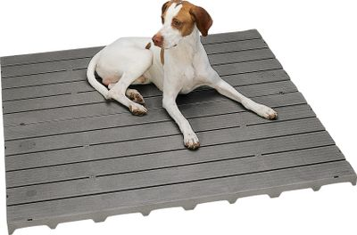 Hunting Simply lay in place for a sanitary, comfortable surface for dogs in kennels or runs. A non-skid platform raises your dog above dirt and concrete to create a warm, dry and odor-free surface that resists mold, mildew and bacteria and won't support insect life. Face is impervious to urine and feces and won't splinter or flake. Clean-up of the chemical-resistant polymer deck is simple; hose it down or scrub with disinfectant of your choice. Kennel Deck sections are 2 ft. x 4 ft., weigh 8-1/2 lbs. for easy relocation or cleaning and can be connected to other sections for larger coverage areas. Easily cut with a handsaw for a custom fit. Clips for connection included. Per each section. - $49.88