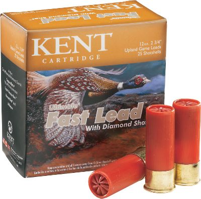 Guns and Military A special manufacturing process gives Kents Diamond Shot a highly polished look thats for more than just show. Teamed with premium components, Diamond Shot in new Ultimate Fast Lead produced better patterning, penetration and performance compared with standard lead shot, and it attains velocities from 1,330 to 1,460 fps depending on shot size. If youre serious about increasing your bag limit on upland game, try Ultimate Fast Lead and see the difference. 25 rounds per box. 10 boxes per case. Type: Lead. - $114.99
