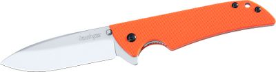Camp and Hike This knife features a quality American-made blade with a distinctive stonewashed finish and you can only get it at Cabelas. Its rugged Sandvik 14C28N stainless steel drop-point blade has a straight edge that retains its sharpness over time. Orange handle is highly visible. G-10 handle scales offer a secure grip in a variety of conditions. Ambidextrous Flipper opening system is quick and easy. Robust locking liner secures the blade when open. Reversible pocket clip for right or left-hand carry. Made in USA.Blade length: 3-1/8. Overall length: 7-3/8.Closed length: 4-1/4. Weight: 2.3 oz. - $23.90