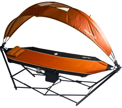 Camp and Hike Kijaros All-In-One Hammock is portable and doesnt require trees, making it perfect for virtually any adventure. Conveniently folds conveniently into the included backpack and assembles quickly in just three easy steps. 180 rotating canopy delivers shade and is adjustable even while youre lying in the hammock. Integrated insulated cooler gives you access to your favorite beverage. Store your favorite magazine or book in the holder during an afternoon nap. Two cup holders and a detachable pillow. Steel tubing frame supports the heavy-duty polyeste-ripstop fabric. Imported. 100.4L x 35.8W x 28.7H (without canopy). Wt: 29.7 lbs. Wt. capacity: 250 lbs. Colors: Green, Caymen Blue, Grey, Blue. Color: Gray. Type: Hammocks. - $149.99