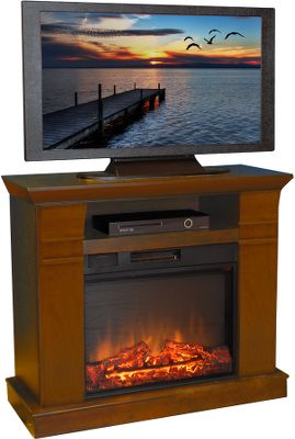 Entertainment This multifunctional electric fireplace is a beautiful and effective heater for your favorite living space. Its also a practical piece of furniture that serves as a media stand for your television. The warm walnut finish surrounds a 23 electric heater that will heat a 400-square-foot space. The adjustable flame settings are controlled by remote. Heater is adjustable from 750 to 1,500 watts. The realistic flame effect has all the charm of a wood-burning fireplace without the muss and fuss of hauling wood in and ashes out, and keeps your air quality at its best. 5,100 BTU. Dimensions: 32H x 38W x 15D. - $399.99