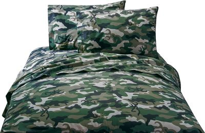 Hunting Complement your bedroom collection with a camo sheet set accented with Browning Buckmarks. Crafted of 55/45 cotton/polyester. Machine washable. Made in USA. Sets include: one fitted sheet, one flat sheet, two standard pillowcases (twin includes one). Available: Twin 39 x 75 sheets. Full 54 x 75 sheets. Queen 60 x 80 sheets. Size: TWIN. Color: Camo Green. Type: Bedding Sets. - $49.99