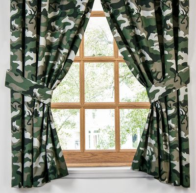 Hunting Complement your bedroom collection with camo drapes accented with Browning Buckmarks. Crafted of 55/45 cotton/polyester. Lined rod pockets. Includes two tiebacks. Machine washable. Per pair. Made in USA. Dimensions: 84W x 63L. Color: Green. Gender: Male. Age Group: Adult. - $44.99
