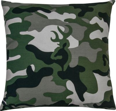 Hunting Complement your bedroom collection with a camo pillow accented with Browning Buckmarks. Matches the Buckmark Green Camo bedding collection. Crafted of 55/45 cotton/polyester. Machine washable. Made in USA. Dimensions: 18 x 18. Color: Green. - $24.99