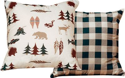 Entertainment Inspired by the Northwoods, this toss pillow nicely complements your bedroom set. It has a soft poly/cotton construction. Machine wash and dry. Per each. Size: 18 x 18 . Pattern: Northern Exposure. - $26.99