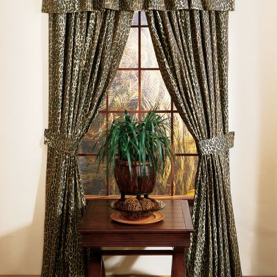 Entertainment The mystique of wild Africa glows from these exotic-themed drapes. Theyre perfect for topping off a safari-styled dcor or for dressing up a childs bedroom. Tiebacks included. 180-thread-count, 50/50 cotton/polyester blend. Polyester/cotton lining. Machine washable. Per two panels. Valance sold separately. Imported.Dimensions: 42 x 84 with 3 header. Available: Leopard, Zebra, Zebra Brown. Color: Zebra. Gender: Male. Age Group: Adult. Type: Drapes. - $59.99