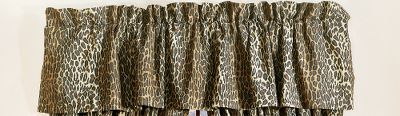 Entertainment The mystique of wild Africa glows from these tailored, exotic-themed valances. Theyre perfect for topping off a safari-styled dcor or for dressing up a childs bedroom. 180-thread-count, 50/50 cotton/polyester blend. Machine washable. Imported. Per each. Dimensions: 88 x 15 with 3 header. Available: Leopard, Zebra, Zebra Pink, Zebra Brown. Color: Zebra. Gender: Male. Age Group: Adult. Type: Valances. - $29.99