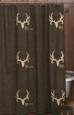 Entertainment Turn your bathroom into a trophy den. Features pro-hunter Michael Waddells signature, his famous trophy skull logo and designs inspired by the Bone Collector trademark. The shower curtain is printed with the Bone Collector logo. Durable 60/40 cotton/polyester blend. Liner not included. Machine washable. Imported. Dimensions: 72 x 72. Type: Shower Curtains & Accessories. - $29.99