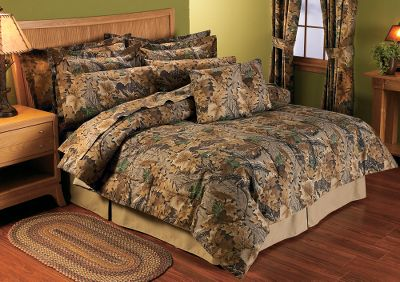 Hunting When youre totally dedicated to hunting, the natural choice for bedroom dcor is camo. What better setting could you find for dreaming about big bucks? Comforter fabric is a 55/45 cotton/polyester blend for a comfortable feel and easy care. Set includes comforter and two shams. Machine washable. Imported. Comforter sizes: Twin (66 x 86), Full (76 x 86), Queen (86 x 94), King (102 x 90). Sham sizes: Standard (21 x 27), King (21 x 37). Camo pattern: Advantage Classic. Size: TWIN. Color: Natural. - $34.88