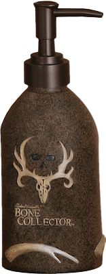 Entertainment Turn your bathroom into a trophy den. Features pro-hunter Michael Waddells signature, his famous trophy skull logo and designs inspired by the Bone Collector trademark. Hand-painted resin with a faux-textured finish. Imported. Type: Lotion Dispensers. - $13.99