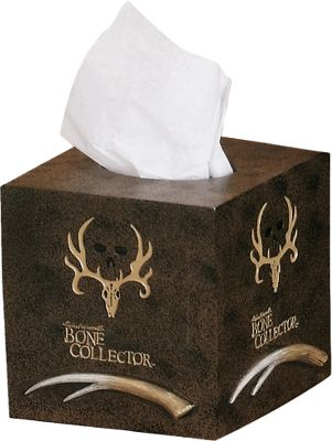 Entertainment Turn your bathroom into a trophy den. Features pro-hunter Michael Waddells signature, his famous trophy skull logo and designs inspired by the Bone Collector trademark. Hand-painted resin with a faux-textured finish. Imported. Type: Tissue Box Covers. - $7.88