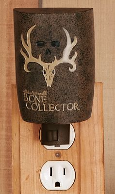 Entertainment Turn your bathroom into a trophy den. Features pro-hunter Michael Waddells signature, his famous trophy skull logo and designs inspired by the Bone Collector trademark. Hand-painted resin with a faux-textured finish. Imported. Type: Night Lights. - $12.99