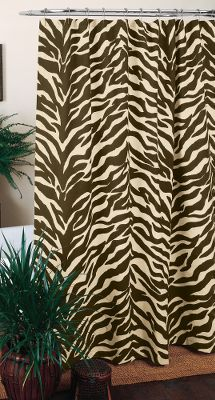 Entertainment A call of the wild with a funky twist. Shower curtain features a zebra stripe pattern. Cotton/polyester blend. Liner not included. Imported. Dimensions: 72 x 72. Colors: Zebra Pink, Zebra Brown. Color: Brown. Type: Shower Curtains & Accessories. - $29.99