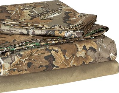Entertainment This sheet set is perfect for the die-hard hunter. Realtree Advantage Classic camo pattern is a combination of realistic leaves, 3-D limbs and open space. It has a medium to medium-dark appearance that matches any outdoor dcor. A 50/50 cotton/polyester blend maintains its soft feel and crisp look after repeated washings. Includes top sheet, fitted bottom sheet and two pillowcases (one pillow case with Twin set). Imported. Available: Twin: 39 x 75 XL Twin: 39 x 80 Full: 54 x 75 Queen: 60 x 80 King: 72 x 80 Camo pattern: Advantage Classic. Size: TWIN. Color: Camouflage. Type: Sheet Sets. - $49.99