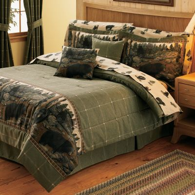 Hunting North American Bedding Collections add woodsy outdoor accents to any bedroom. Perfect for the outdoor-inspired decorator. The Comforter Set includes comforter, bed skirt and two shams (Twin includes one). The Comforter face is 100% cotton duck with a 70/30 polyester/cotton backing with high-loft polyfill. The Bed Skirt is made of 100% cotton duck material with a 14 drop. The Sham is crafted from 100% cotton duck fabric. Both sham sizes have a 2 flange. Made in USA. Sizes: Twin, Full, Queen, King. Comforter sizes: Twin (66 x 86), Full (80 x 90), Queen (92 x 96), King (110 x 96). Dry-clean only. Bed skirt sizes: Twin (39 x 75), Full (54 x 75), Queen (60 x 80), King (78 x 80). Sham sizes: Standard (27 x 33), King (27 x 43). Available: The Bears A bevy of black bears adorn this panoramic border print. Size: TWIN. Color: Black. Type: Bedding Sets. - $124.99