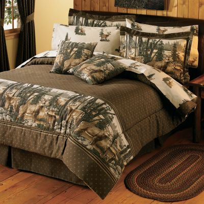 Hunting North American Bedding Collections add woodsy outdoor accents to any bedroom. Perfect for the outdoor-inspired decorator. The Comforter Set includes comforter, bed skirt and two shams (Twin includes one). The Comforter face is 100% cotton duck with a 70/30 polyester/cotton backing with high-loft polyfill. The Bed Skirt is made of 100% cotton duck material with a 14 drop. The Sham is crafted from 100% cotton duck fabric. Both sham sizes have a 2 flange. Made in USA. Sizes: Twin, Full, Queen, King. Comforter sizes: Twin (66 x 86), Full (80 x 90), Queen (92 x 96), King (110 x 96). Dry-clean only. Bed skirt sizes: Twin (39 x 75), Full (54 x 75), Queen (60 x 80), King (78 x 80). Sham sizes: Standard (27 x 33), King (27 x 43). Available: Whitetail Dreams Panoramic scenic border print showcases majestic whitetail deer in their natural habitat. All-natural colors in browns and greens bring the outdoors in. Size: TWIN. Color: Natural. - $129.99