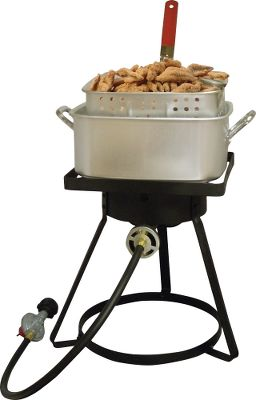 Camp and Hike Cook fish, seafood and other foods to perfection with this sturdy propane-powered cooker. The 16 bolt-together cooker has a recessed top and is stable on flat surfaces. The square aluminum fry pan holds 12 quarts for frying or boiling. A punched-aluminum basket is outfitted with a heat-resistant handle. UL-listed LP hose and regulator with Type-1 connection included. Type: Fryers. - $55.88