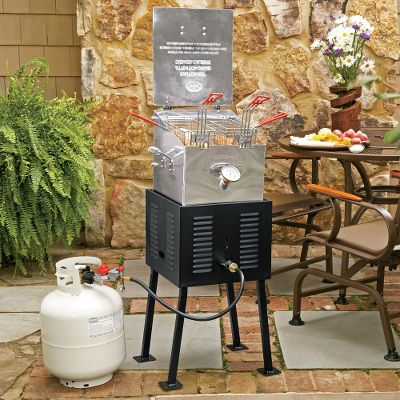 Camp and Hike We took the ever-popular fryer and added minor revisions to make it safer and easier to use. From fish to hushpuppies, this fryer will have you licking your chops with every meal you prepare. The raised burner keeps the oil below the burner cooled, extending the oils life. The 4-gallon fryer includes two stainless steel baskets with cool-touch handles, temperature gauge, drain valve, extension legs and a 10 psi preset regulator with stainless steel braided hose. Propane cylinders not included. Imported.Dimensions: 17.5 x 17.5 x 26. Weight: 69 lbs. Type: Fryers. - $254.88