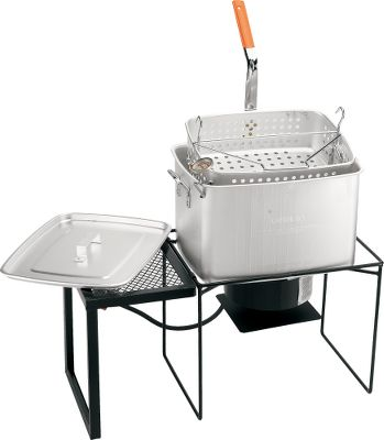 Camp and Hike Fry, boil or steam your food with King Kookers 36-qt. Rectangular Cooker Package. Aluminum rectangular pot allows you to cook up to an 18-lb. turkey. Cast burner delivers 54,000 BTU for multiple cooking applications. Includes LP hose and regulator with type 1 connection, CSA-certified battery operated timer*, 36-qt. rectangular aluminum pot, basket and steamer rack, two-handed lift handle, deep-fry thermometer, work shelf, instruction/recipe booklet. Weight: 45 lbs. *All turkey fryers approved for use with CSA require a propane flow timer. Type: Fryers. - $89.88