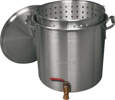 Camp and Hike Displaying the well-built quality you expect, the heavy-duty aluminum pots feature a brass valve that makes draining oil or other liquids a cinch. Includes matching lid and punched aluminum fry/steamer basket. Imported. Available: 100 quart, 120 quart, 160 quart. Size: 120 QT. Type: Cookware. - $199.99