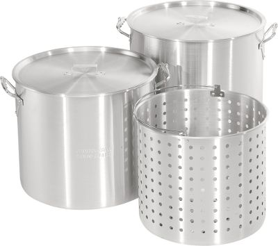 Camp and Hike This series offers quality construction and versatility for everything from fish frys and family meals to huge cookouts and low-country boils. The stainless steel pots feature a rimmed opening to prevent spills, and include a matching lid and a stainless basket with handle. Imported. Sizes: 24-qt., 36-qt., 44-qt., 62-qt., 82-qt., 102-qt. with brass draining valve. Size: 24 QT. Color: Stainless Steel. Type: Cookware. - $69.99