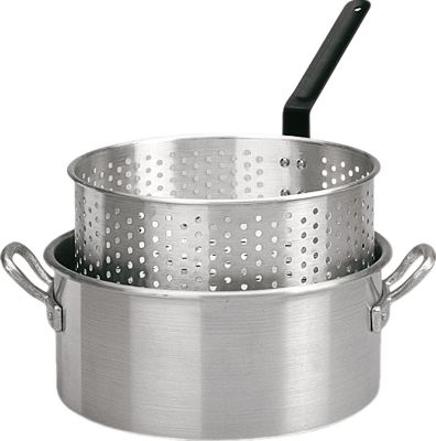 Camp and Hike Make your next fish fry or outdoor cookout effortless with this heavy-duty fry pan. Heats oil evenly for a quick, delicious fry every time. Features a long handle and additional helper handle for safe, easy use. Includes punched aluminum basket with heat-resistant handle.Size: 9 quart. Type: Cookware. Alum Lng Hndl Fry Pn. - $24.88