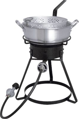 Camp and Hike The perfect height for shore-side cookouts, these 16 fryers come with a low-profile, 7-qt. aluminum fry pan (includes a frying basket). The bolt-together cooking stands feature an LP hose and a regulator with a Type 1 connection. Each includes a deep-fry thermometer and instruction/recipe booklet. Imported.Available: Aluminum (Wt: 12 lbs.). - $49.88