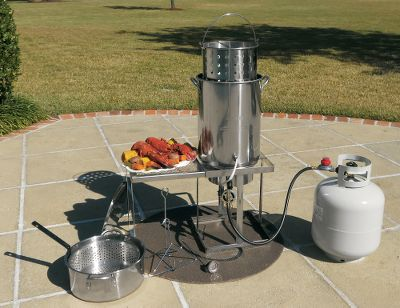 Camp and Hike Completely redesigned, now safer, more efficient and made with the best quality components. Kit includes a 15, 38,000-BTU, CSA-approved single-burner cooker with a high-pressure hose and regulator. Also includes a 30-qt., 0.7mm stainless steel pot and bucket, chrome drain rack, 10-qt. stainless steel fry pot and basket, and recipe book. This fryer comes with a self-regulating temperature probe that will shut off the burner if the oil reaches 475, preventing overheating and flash fires. Imported. Type: Cookers. - $159.88