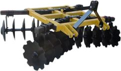 Entertainment A professional-grade Box-Frame Disc Harrow constructed of heavy-duty, steel square tubing for extreme durability. Disc gang axles are made of 1-square carbon steel rods and are mounted on sealed, steel bearings for maintenance-free durability. Easy, single-bolt adjustments with four angle adjustments at 16, 30, 44 and 57. Includes 20 of the 18-dia. high-carbon steel disc blades each disc features a notched front blade and a smooth rear blade. Fast, simple connections to any three-point hitch with Category-1, specifications. Made in USA.Cutting width: 6-1/2 ft. Weight: 857 lbs. (aprox.). - $1,599.99
