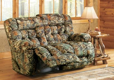 Entertainment After a hard day in the field or at the office, kick up your feet and let yourself melt into this luxurious Kipling Camouflage Love Seat from Best Home Furnishings. Heavy-duty all-steel reclining mechanisms ensure smooth, responsive reclining on demand. The hardwood frame is meshed with high-strength secure points that are doweled, screwed and glue-reinforced with steel plates. All springs are heat-tempered for strength and long life. Receives 300-lb. testing for everyday use. Made in USA. 42H x 64W x 40-1/2D. Camo patterns: Cabelas Seclusion 3D, Realtree AP, Mossy Oak Break-Up. Color: Mossy Oak Breakup. Type: Loveseats. - $1,199.99