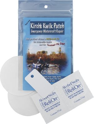 Fishing These self-adhering repair patches are clear, flexible, UV-resistant and bond tenaciously to most synthetic materials found on float tubes, waders and boats. No cure time, minimal surface prep and no messy glues. Unlimited shelf life. Includes two 5-mil Teflon 3-inch circular patches. Color: Clear. Type: Float Tube & Pontoon Accessories. - $5.88