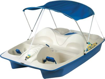 Kayak and Canoe Glide through the water under your own power. This fun craft has joystick steering and an energy-efficient, super-durable paddle wheel driven by a pair of easy-turning foot pedals. The deluxe canopy is made of water-repellent, UV-resistant, 600-denier polyester and folds down easily and compactly. - $549.99