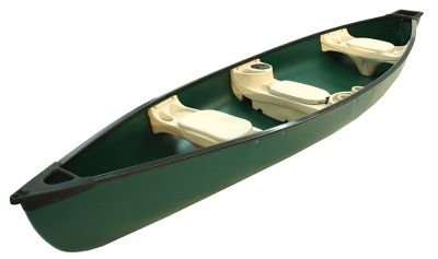 Kayak and Canoe This trolling-motor-compatible canoe provides 2-in-1 versatility and feature-loaded convenience, without sacrificing the responsive maneuverability or easy-paddling performance of a traditional canoe. Its square-backed design features a transom thats perfectly sized to securely fit an electric trolling motor (sold separately). The UV-stabilized hull is made of Fortiflex high-density polyethylene for lightweight, high-strength durability. Comfort-molded seats aid flotation and feature molded-in drink holders. Built-in cooler and dry-storage compartment in center seat. Protective rubrail. Bow tie-down eyelets. Two-year limited warranty. Three-person capacity. Made in USA. Length: 15'6. Width: 40. Height: 18-1/2. Weight: 95 lbs. Weight capacity: 800 lbs. Color: Green. Color: Green. - $699.99