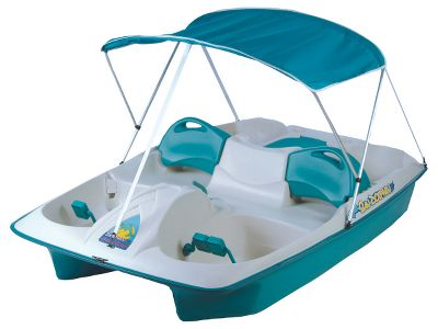 Fishing Go cruising around the lake in a fully equipped self-propelled paddle boat. With a capacity of up to five and a wealth of built-in features, this Sun Slider model is ideal for everything from fishing to just plain relaxing. It comfortably seats three in front and two in back with seats in the forward position. Seats lock into position for safety and have fully adjustable seat backs with handgrips for easy positioning. Rugged UV-stabilized Fortiflex high-density polyethylene deck and hull matched with closed-cell polystyrene foam flotation ensure years of superior performance. Pull up the rugged canopy to add shade from the midday sun. Canopys 600-denier marine fabric has a polyurethane coating for water repellency and UV protection. Aluminum framework folds down for storage. Light-colored decks reflect light to stay cooler. Maintenance-free, oil-impregnated bronze bushings with rubber seals promote easy paddling. Three-position cranks allow one- two- or three-person operation. Aluminum tiller steering system. Recessed drink holders. Molded-in Fishing-rod holders. Built-in cooler or storage area and motor mount. Protective vinyl rubrail. Mooring cleat. Made in USA. Dimensions: 93L x 65W x 24.5H. Weight: 110 lbs. Weight capacity: 545 lbs. Colors: Blue, Teal. Color: Bronze. Type: Pedal Boat. - $699.99