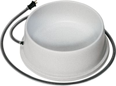 Fitness A hidden, U.L.-approved heating element keeps water above the freezing point and costs only pennies a day to run (Draws less power than a 30-watt light bulb). The 1-1/2 gallon bowl is constructed of high-density, weather-proof polyethylene. A special gnaw-proof wrap prevents your dog from damaging the cord and the non-tip design keeps him from knocking it over. Imported. - $33.74