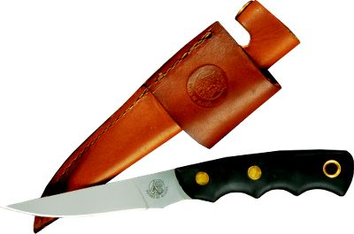 Hunting Designed for versatility, this boning and caping knife will handle all your field-dressing needs. The 3-1/2 spear blade is almost 1/8 thick and crafted of premium-grade D2 steel. Finger grooves provide a sure grip. It has a full tang, a double-riveted handle with lanyard hole and an oiled split-grain leather sheath. - $79.99