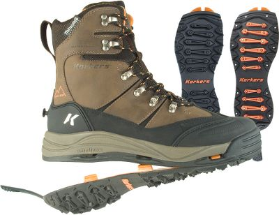 Adapt your traction to changing winter-weather conditions without changing your boots. Korkers OmniTrax 3.0 Interchangeable Sole System includes SnowTrac Winter Rubber Lug and IceTrac Studded Rubber Lug soles with carbide studs (32 studs/pair). Youll be able to switch from traversing snow to ice in seconds. Waterproof, breathable booties combine with the waterproof leathers, webbing and stitching to keep your feet dry. A layer of 400-gram Thinsulate Insulation provides just the right amount of warmth for active comfort. Molded toe and heel caps add support and protection without sacrificing flexibility. Includes one pair each SnowTrac Winter Rubber Lug and IceTrac Studded Rubber Lug soles. Imported.Height: 9.Weight: 3 lbs. 7 oz./pair.Mens sizes: 8-14 medium width. Half sizes to 12. Color: Brown. Type: Pac Boots. Size: 10. Shoe Width: BROWN. Color: Medium. Size 10. Color Brown. Width Medium. - $119.88