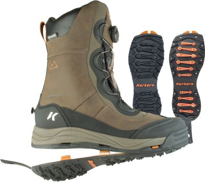 Entertainment Not only are they tough and ready for winters worst, these warming boots include the OmniTrax 3.0 interchangeable outsole system. The built-in SnowTrac Winter Rubber Lug outsoles provide excellent traction over snow, slush and most winter ground. When your winter snap becomes extreme, youll be ready with the groundbreaking and easy-to-install IceTrac outsoles. Equipped with studded rubber lugs and carbide studs, youll move over shear ice and blizzard terrains with ground-biting stability and confidence. Waterproof leather uppers, breathable booties, flexible webbing and durable stitching combine for comfortable, 100% waterproof protection. On all sides and even beneath, 600-gram Thinsulate Insulation delivers winter-beating warmth thats rated to -40F. 360 rands provide support, protection and flexibility. Includes one pair each SnowTrac Winter Rubber Lug and IceTrac Studded Rubber Lug outsoles. Imported. Average weight: 3.3 lbs./pair. Height: 11.Mens whole sizes: 8-14. Color: Brown. - $179.88