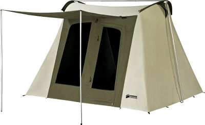 Camp and Hike If easy setup is your game plan, then this is the canvas tent for you. The sturdy, innovative pole design uses a heavy- duty galvanized-steel tube frame, yet is simple for one person to pitch. The cotton-duck canvas construction (10-oz. roof, 8-1/2-oz. walls) is Hydra-Shield treated to keep rain and moisture out while letting the fabric breathe. This 6-person tent comes with a large attached awning that can be rolled up, an adjustable gear loft and accessory pockets. The near-vertical tent walls maximize the interior area, and the spacious 66 ceiling height provides walk-around comfort. Circulation is improved by four large No-See-Um mesh windows and two large D-shaped doors with YKK zippers. 16-oz. polyester-reinforced vinyl floor. Includes heavy-duty 12 steel rod stakes and strap-and-cinch storage bag. Imported. Floor dimensions: 10 x 10. - $549.99