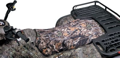 Motorsports Ride for miles in comfort with these tough and durable camo seat covers from Kolpin. Each is made of a rugged 600-denier nylon that will last you for years of hunts, and the Rhino Hide in the seat area ensures youll be comfortable no matter how far youve got to travel. It has an elastic sure-fit design and it fits nearly all ATV seats. Camo pattern: Mossy Oak Break-Up. NOTE: Fits all makes/models ATV, except 05 to 08 Polaris ATV, 05 and 06 Honda 500 Rubicon, Kawasaki 700 Sport Quad, Bombardier Outlander Max, 88 Big Bear, 97 Kodiak. Color: Camo. - $29.99