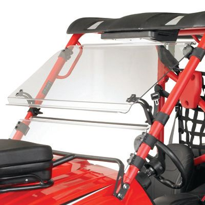 Motorsports Stay protected from debris, bugs and mud behind this versatile full-tilting windshield. Use the three-position tilt mechanism to adjust the windshield to supply your preferred level of ventilation fully closed, half extension or full extension. The top windshield piece can also be quickly released. Constructed of scratch-resistant, 1/4-thick Lexan polycarbonate, this is one of the toughest windshields available. Easy to install with no drilling required. Available: Kawasaki Teryx, Kawasaki Mule 4000/4010, Kawasaki Mule 600/610, Polaris RZR, Polaris Ranger 09, Polaris Ranger, Honda Big Red, Maverick, 2010 Teryx, JD XUV550, JD 625/825, Bobcat 2200, Ranger Mid, 2013 Ranger XP900, 2010 Ranger XP, A/C Wildcat, Prowler, Arctic Cat, Kubota 500, Rhino, Teryx 4, Commander. Color: Red. - $349.99