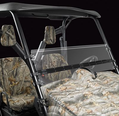 Entertainment The innovative half-folding design gives you the versatility you need for a comfortable ride on your UTV. When you dont want mud or debris spattering in your face, simply flip up the windshield for full coverage. On those extra-hot days when you prefer the wind whipping through your hair, simply fold the windshield down halfway. The sturdy metal hinge adjusts easily in the up or down position. Use the custom injection-molded clamps to hold the windshield securely in place. The tough, clear polycarbonate material is scratch- and shatter-resistant. Easy to install no drilling required. Includes all the necessary hardware for assembly. Models: Rhino, Teryx, Big Red, Polaris Ranger XP 09. Color: Clear. - $249.99