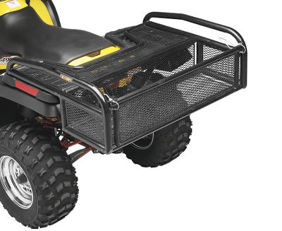 Motorsports No more straining to lift heavy cargo items up and over the back of your ATV cargo basket, and no more lost smaller items with this convenient Tailgate Drop Rack Mesh Basket. It works just like the tailgate on a pickup truck. Lower the 8 tall cable-supported tailgate to load and unload, lock it in the upright position for transport. The perimeter is supported by 1-1/2 steel tubing, with the remainder comprised of 1 bolt-together steel cross tubing with expanded metal mesh to contain small items. Universal fit rack includes mounting hardware for easy installation. Some assembly required. Dimensions: 40-3/4 x 32-1/4 x 13-1/4. Item note: The weight-capacity of this rack is determined by the capacity of the original equipment rack on which it is mounted. - $179.99