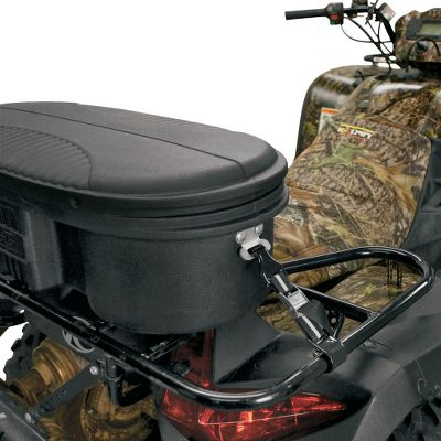 Motorsports The fastest, most convenient system to attach hard storage accessories to your ATV rack. You'll be able to switch between a utility box, seat lounger or open rack space quickly without tools. Just attach the two galvanized steel plates to your accessory. Secure the heavy-duty nylon straps with PVC-coated hooks to the attachment plate and your rack and cinch down with the cam-lock buckle. Manufacturer recommends the use of six kwik-cinch straps on ATV loungers, seat boxes and large utility boxes (two front, two sides, two rear). Per pair. - $13.88