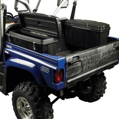 Entertainment Get your UTV rigged up and ready for work with this Saddle Storage Box. It provides 1.4 cu. ft. of weather-resistant storage for your tools, rope and gear. Lockable latches protect gear from theft. Installs easily to the inside of the bed rail of most utility vehicles. Stainless steel hardware and lockable latches included. Made in USA. Dimensions: 27L x 5W x 15H. Color: Stainless Steel. - $89.99