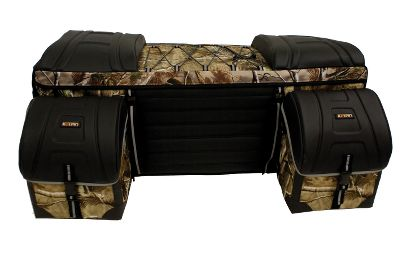 Hunting The largest cargo bag offered by Kolpin, the Trailtec Deluxe Cargo Bag attaches to the back of your ATV to extend storage space by a massive, 4.96 cu. ft. Boasts a removable, roll-top cooler and accessory pods for storing gear. Remove the cooler, and store up to three adult-sized helmets. Form-fitting cover protects cargo from rain and dust. Internal Sta-Con frame maintains the bags shape for added protection. Two metal cam buckles provide quick, secure attachment. Fully lined light gray interior. Reflective material enhances visibility for safer riding. Comfortable, 17W backrest. Zipperless design. Constructed of tough, 600-denier polyester. Made in USA. Dimensions: 22-1/2L x 36W x 14-1/2H. Color/Camo pattern: Black, Realtree AP . Color: Black. Gender: Male. Age Group: Adult. - $71.88
